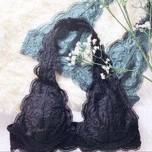 Black Lace Halter Bralette